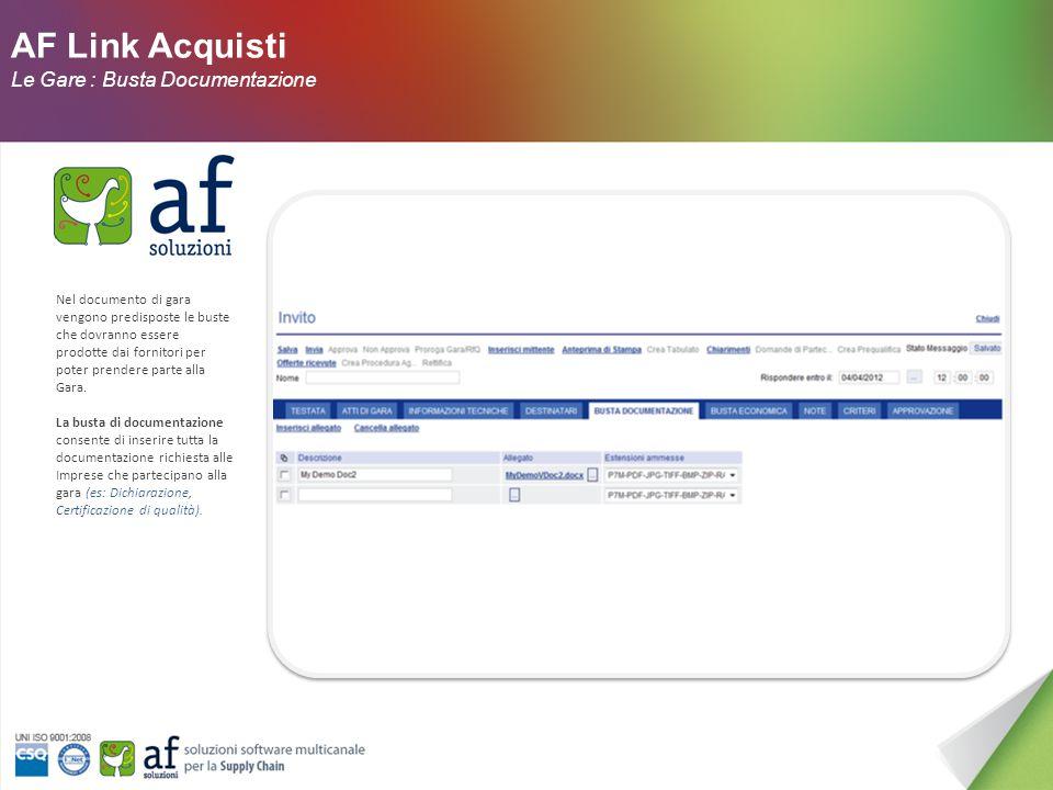 AF Link Acquisti Le Gare : Destinatari Nella sezione Destinatari vengono selezionati tutti i fornitori da invitare (solo nel caso di procedure ad invito) individuati nell'Albo Fornitori
