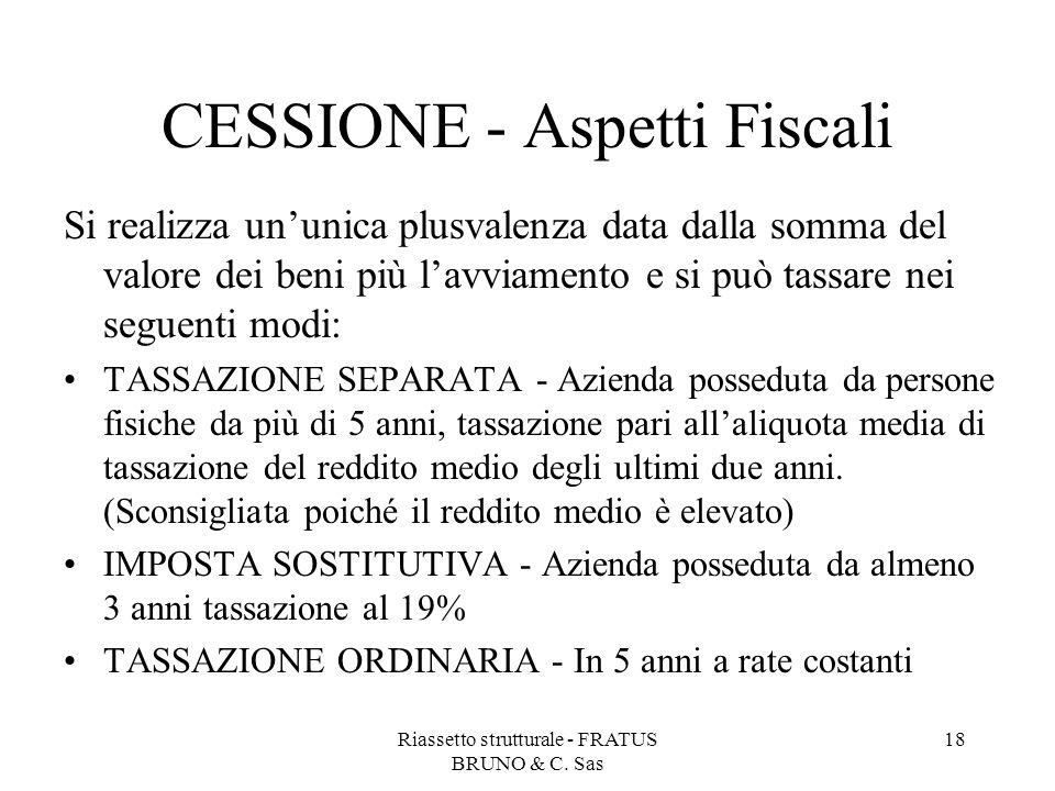 Riassetto strutturale - FRATUS BRUNO & C. Sas 18 CESSIONE - Aspetti Fiscali Si realizza un'unica plusvalenza data dalla somma del valore dei beni più