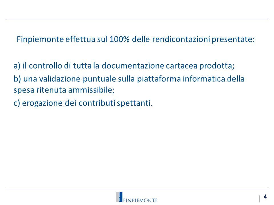 Finpiemonte effettua sul 100% delle rendicontazioni presentate: a) il controllo di tutta la documentazione cartacea prodotta; b) una validazione puntuale sulla piattaforma informatica della spesa ritenuta ammissibile; c) erogazione dei contributi spettanti.