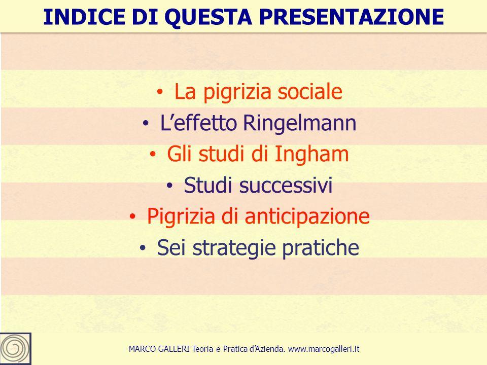 3 La pigrizia sociale L'effetto Ringelmann Gli studi di Ingham Studi successivi Pigrizia di anticipazione Sei strategie pratiche INDICE DI QUESTA PRESENTAZIONE MARCO GALLERI Teoria e Pratica d'Azienda.