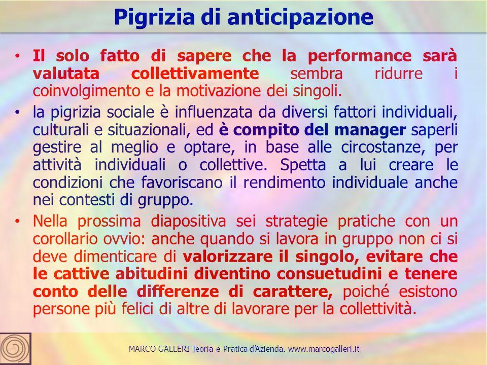 Il solo fatto di sapere che la performance sarà valutata collettivamente sembra ridurre i coinvolgimento e la motivazione dei singoli.