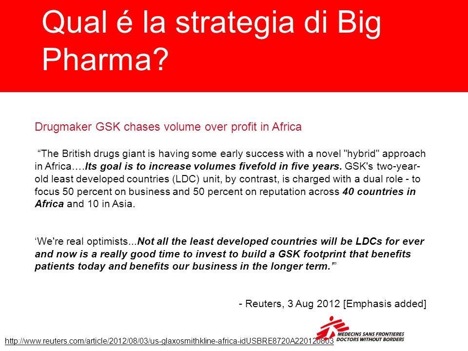 """Qual é la strategia di Big Pharma? Drugmaker GSK chases volume over profit in Africa """"The British drugs giant is having some early success with a nove"""