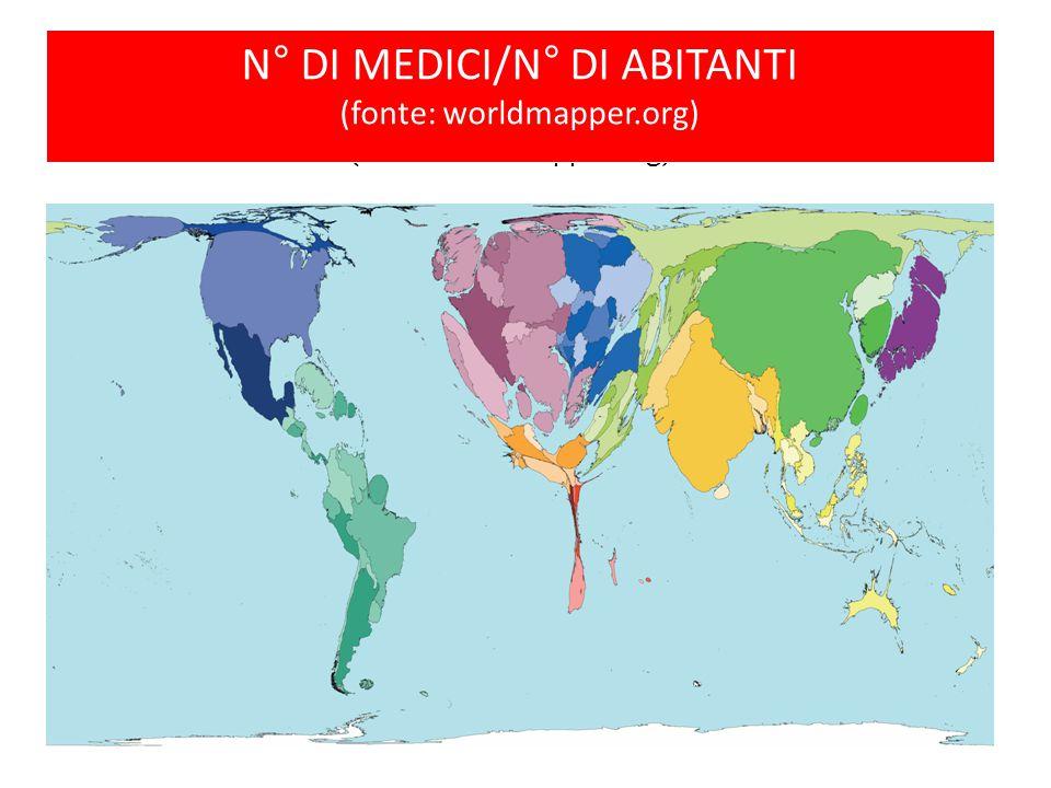 N° di medici/N° di abitanti (fonte: worldmapper.org) N° DI MEDICI/N° DI ABITANTI (fonte: worldmapper.org)