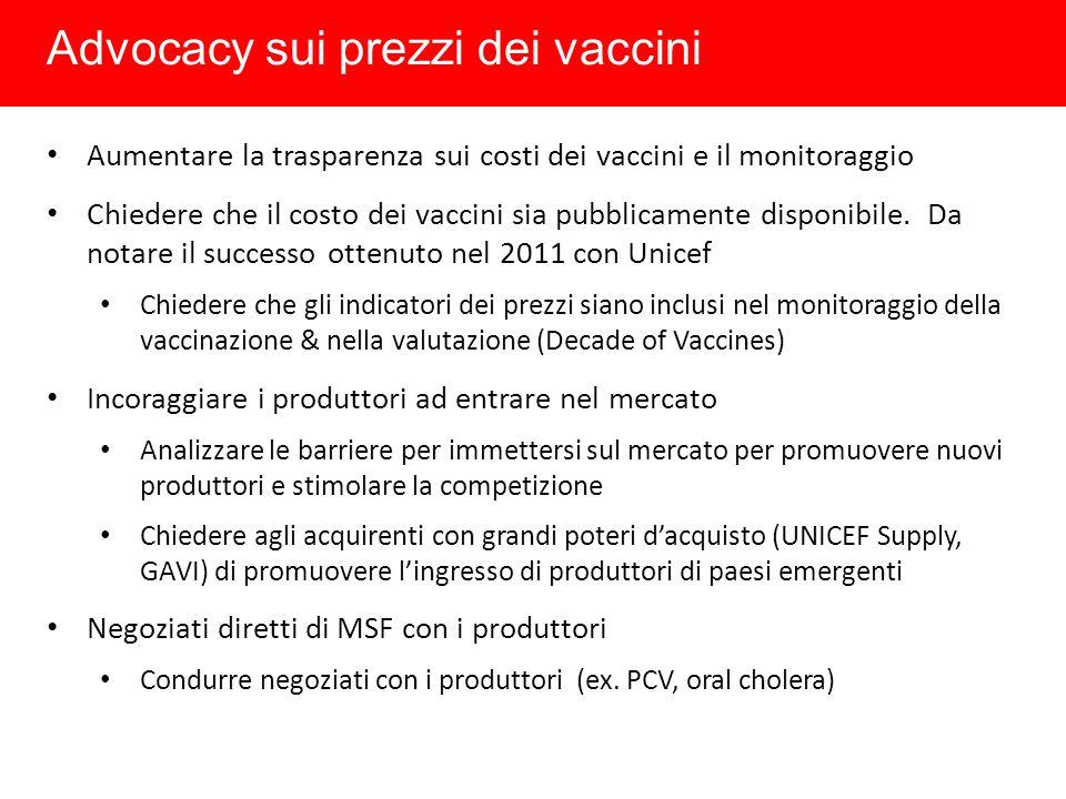 Advocacy sui prezzi dei vaccini Aumentare la trasparenza sui costi dei vaccini e il monitoraggio Chiedere che il costo dei vaccini sia pubblicamente disponibile.