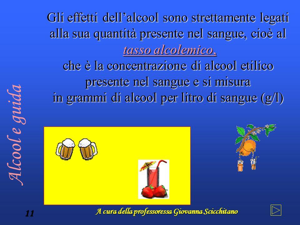 A cura della professoressa Giovanna Scicchitano 11 Gli effetti dell'alcool sono strettamente legati alla sua quantità presente nel sangue, cioè al tas