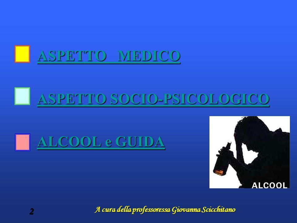 A cura della professoressa Giovanna Scicchitano 2 ASPETTO MEDICO ASPETTO MEDICO ASPETTO SOCIO-PSICOLOGICO ASPETTO SOCIO-PSICOLOGICO ALCOOL e GUIDA ALC