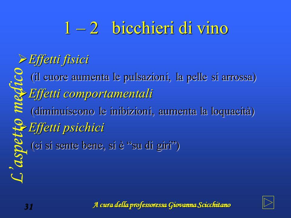 A cura della professoressa Giovanna Scicchitano 31 1 – 2 bicchieri di vino  Effetti fisici (il cuore aumenta le pulsazioni, la pelle si arrossa) (il