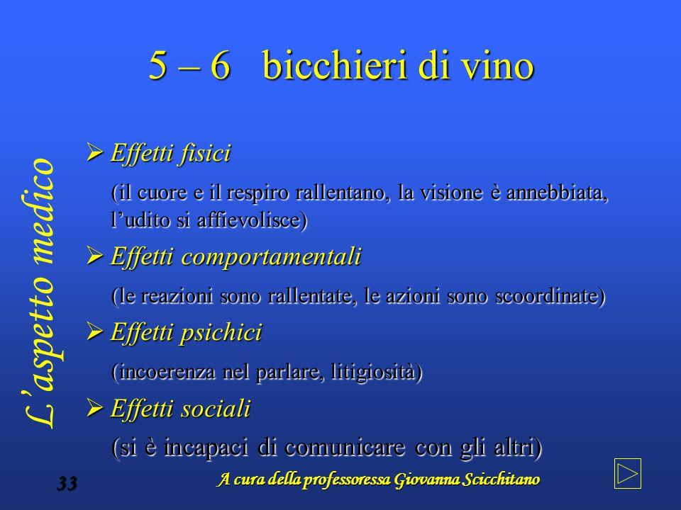 A cura della professoressa Giovanna Scicchitano 33 5 – 6 bicchieri di vino  Effetti fisici (il cuore e il respiro rallentano, la visione è annebbiata