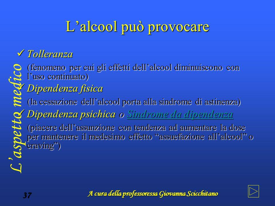 A cura della professoressa Giovanna Scicchitano 37 L'alcool può provocare Tolleranza Tolleranza (fenomeno per cui gli effetti dell'alcool diminuiscono