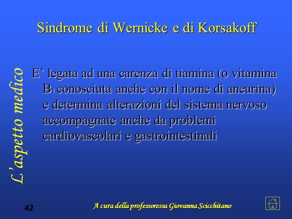 A cura della professoressa Giovanna Scicchitano 42 Sindrome di Wernicke e di Korsakoff E' legata ad una carenza di tiamina (o vitamina B1 conosciuta a