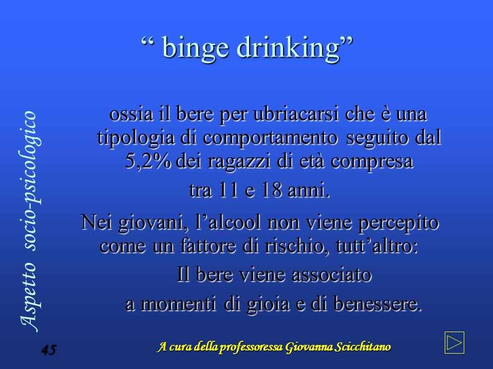 """A cura della professoressa Giovanna Scicchitano 45 """" binge drinking"""" ossia il bere per ubriacarsi che è una tipologia di comportamento seguito dal 5,2"""