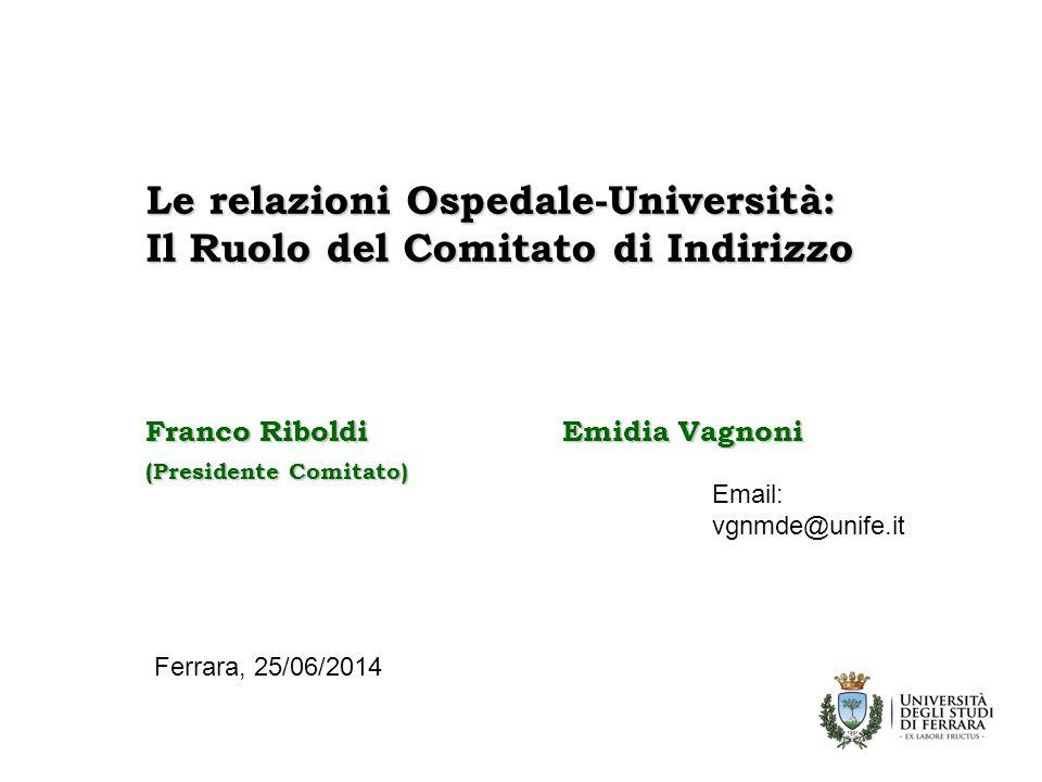 Le relazioni Ospedale-Università: Il Ruolo del Comitato di Indirizzo Franco Riboldi Emidia Vagnoni (Presidente Comitato) Ferrara, 25/06/2014 Email: vgnmde@unife.it