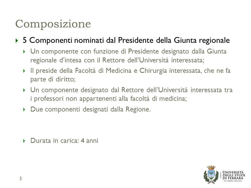 Composizione  5 Componenti nominati dal Presidente della Giunta regionale  Un componente con funzione di Presidente designato dalla Giunta regionale