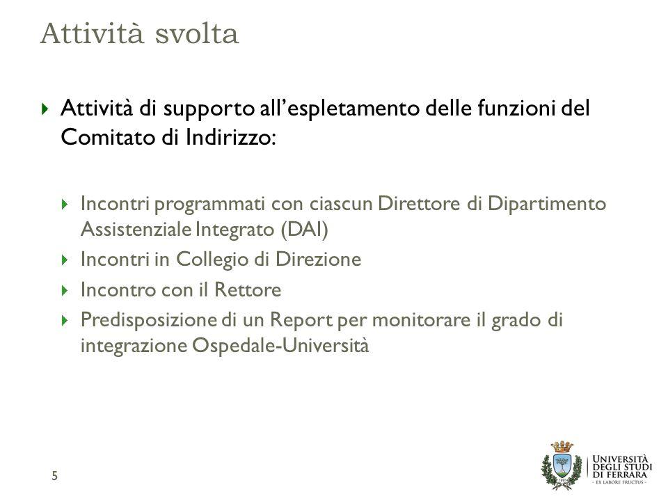 Il Report sullo stato di Integrazione Ospedale-Università 6