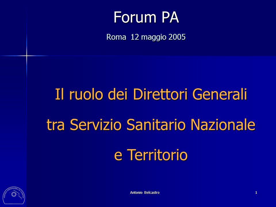Antonio Belcastro 1 Forum PA Roma 12 maggio 2005 Il ruolo dei Direttori Generali tra Servizio Sanitario Nazionale e Territorio