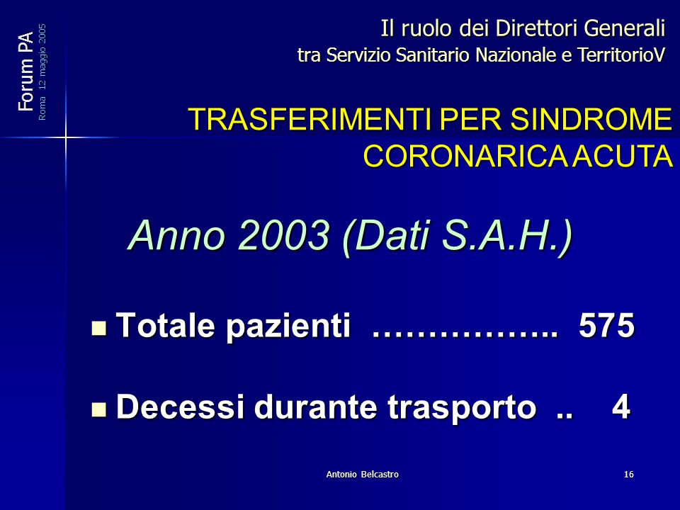 Antonio Belcastro16 Totale pazienti …………….. 575 Totale pazienti ……………..