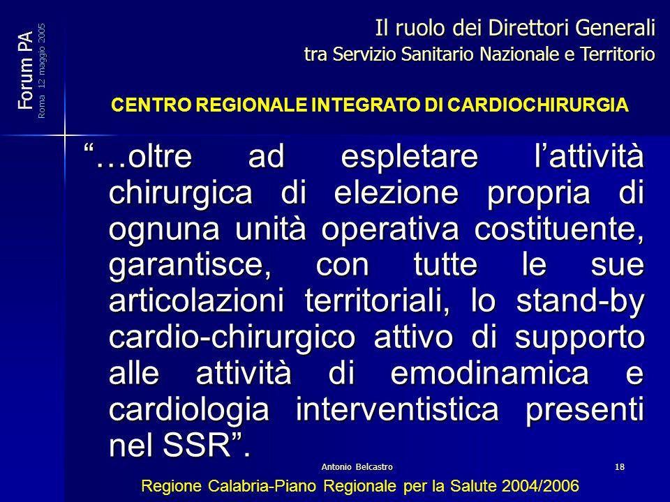 Antonio Belcastro18 …oltre ad espletare l'attività chirurgica di elezione propria di ognuna unità operativa costituente, garantisce, con tutte le sue articolazioni territoriali, lo stand-by cardio-chirurgico attivo di supporto alle attività di emodinamica e cardiologia interventistica presenti nel SSR .