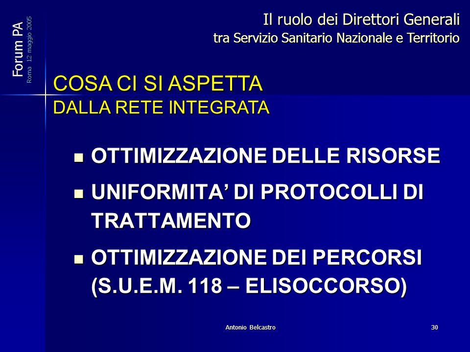 Antonio Belcastro30 OTTIMIZZAZIONE DELLE RISORSE OTTIMIZZAZIONE DELLE RISORSE UNIFORMITA' DI PROTOCOLLI DI TRATTAMENTO UNIFORMITA' DI PROTOCOLLI DI TRATTAMENTO OTTIMIZZAZIONE DEI PERCORSI (S.U.E.M.