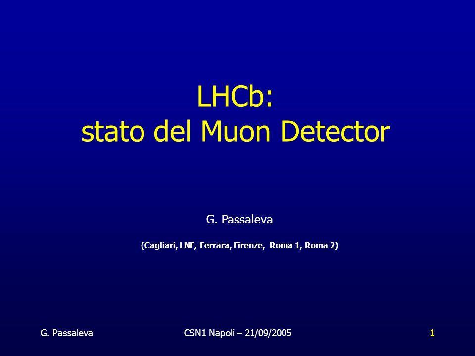 G. PassalevaCSN1 Napoli – 21/09/20051 LHCb: stato del Muon Detector G.
