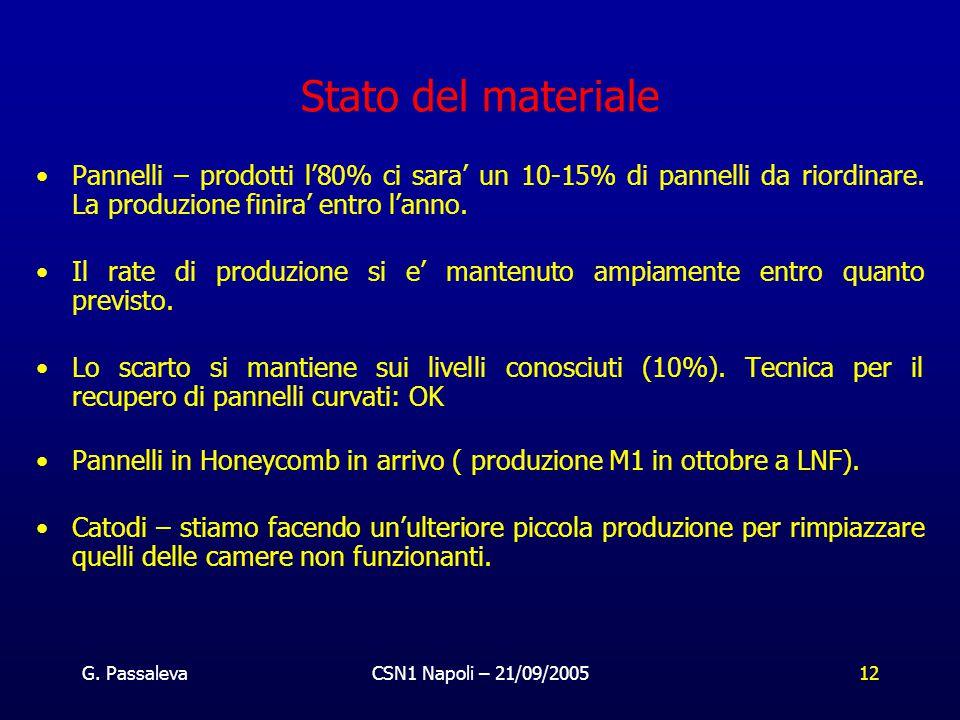 G. PassalevaCSN1 Napoli – 21/09/200512 Stato del materiale Pannelli – prodotti l'80% ci sara' un 10-15% di pannelli da riordinare. La produzione finir