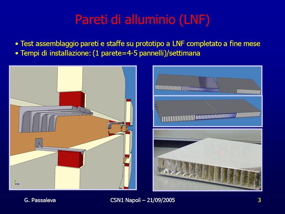 G. PassalevaCSN1 Napoli – 21/09/20053 Test assemblaggio pareti e staffe su prototipo a LNF completato a fine mese Tempi di installazione: (1 parete=4-