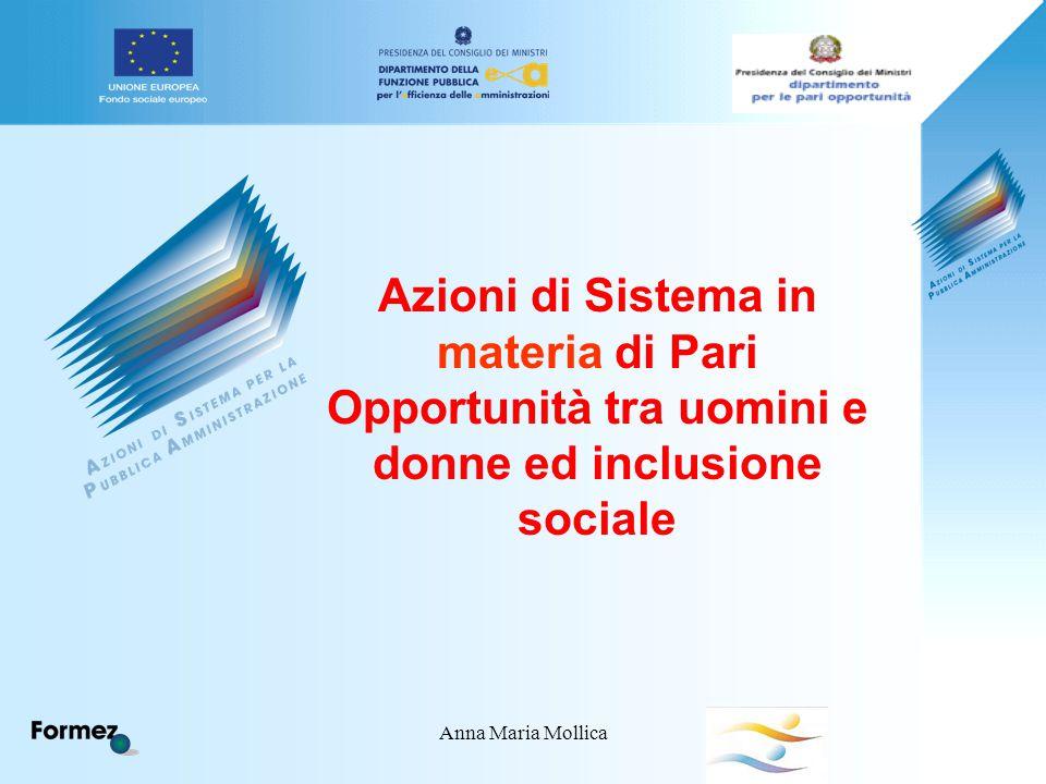 Anna Maria Mollica Azioni di Sistema in materia di Pari Opportunità tra uomini e donne ed inclusione sociale