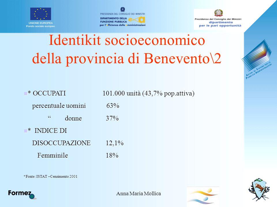 Anna Maria Mollica Identikit socioeconomico della provincia di Benevento\2 * OCCUPATI 101.000 unità (43,7% pop.attiva) * OCCUPATI 101.000 unità (43,7% pop.attiva) percentuale uomini 63% percentuale uomini 63% donne 37% donne 37% * INDICE DI * INDICE DI DISOCCUPAZIONE 12,1% DISOCCUPAZIONE 12,1% Femminile 18% Femminile 18% *Fonte :ISTAT –Censimento 2001
