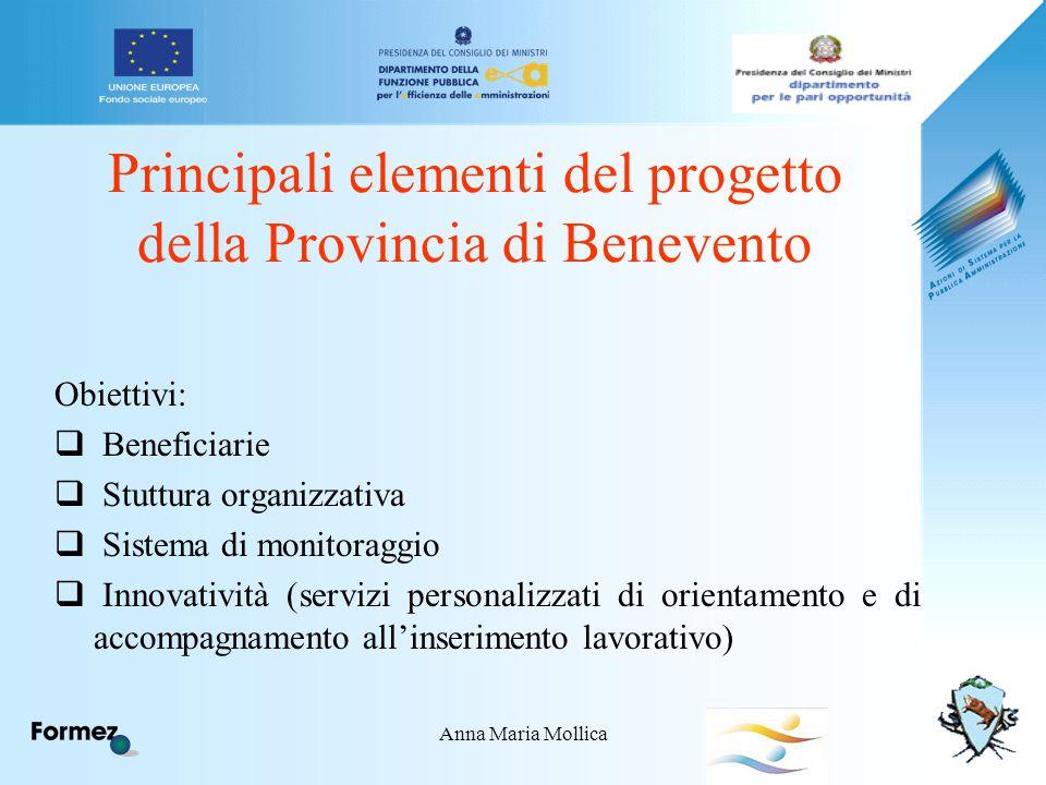 Anna Maria Mollica Principali elementi del progetto della Provincia di Benevento Obiettivi:  Beneficiarie  Stuttura organizzativa  Sistema di monitoraggio  Innovatività (servizi personalizzati di orientamento e di accompagnamento all'inserimento lavorativo)