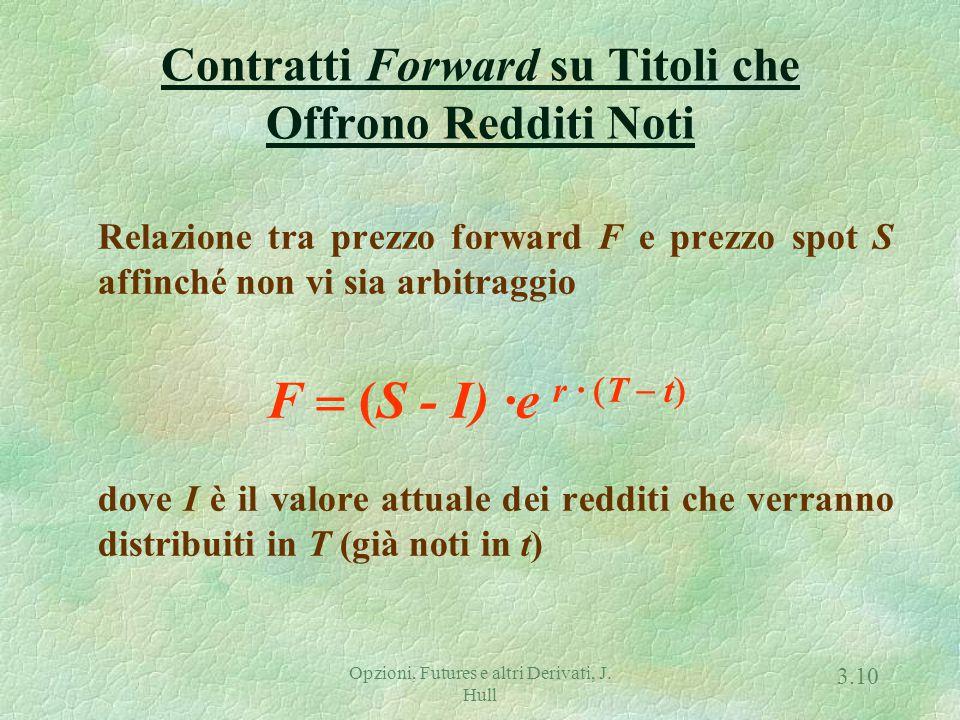 Opzioni, Futures e altri Derivati, J. Hull 3.9 Condizione di non-arbitraggio f + K · exp { - r · (T - t) } = S Poiché in t, F = K e f = 0, allora la c