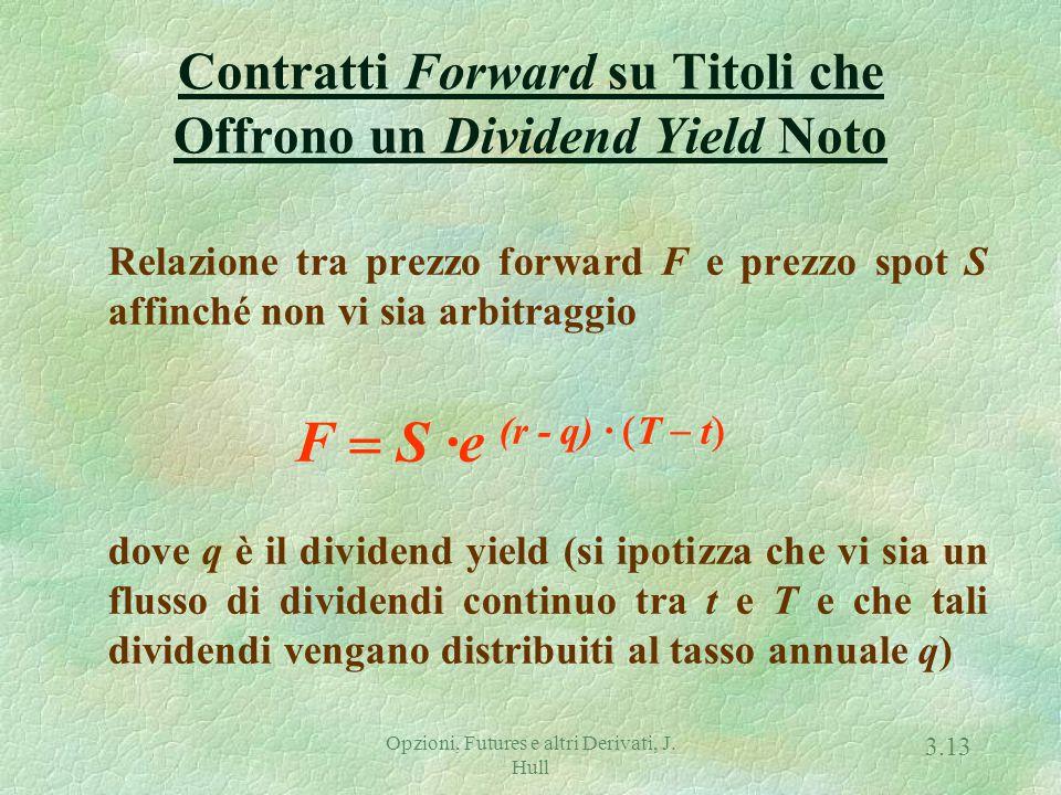 Opzioni, Futures e altri Derivati, J. Hull 3.12 Condizione di non-arbitraggio f + K · exp { - r · (T - t) } = S - I Poiché in t, F = K e f = 0, allora
