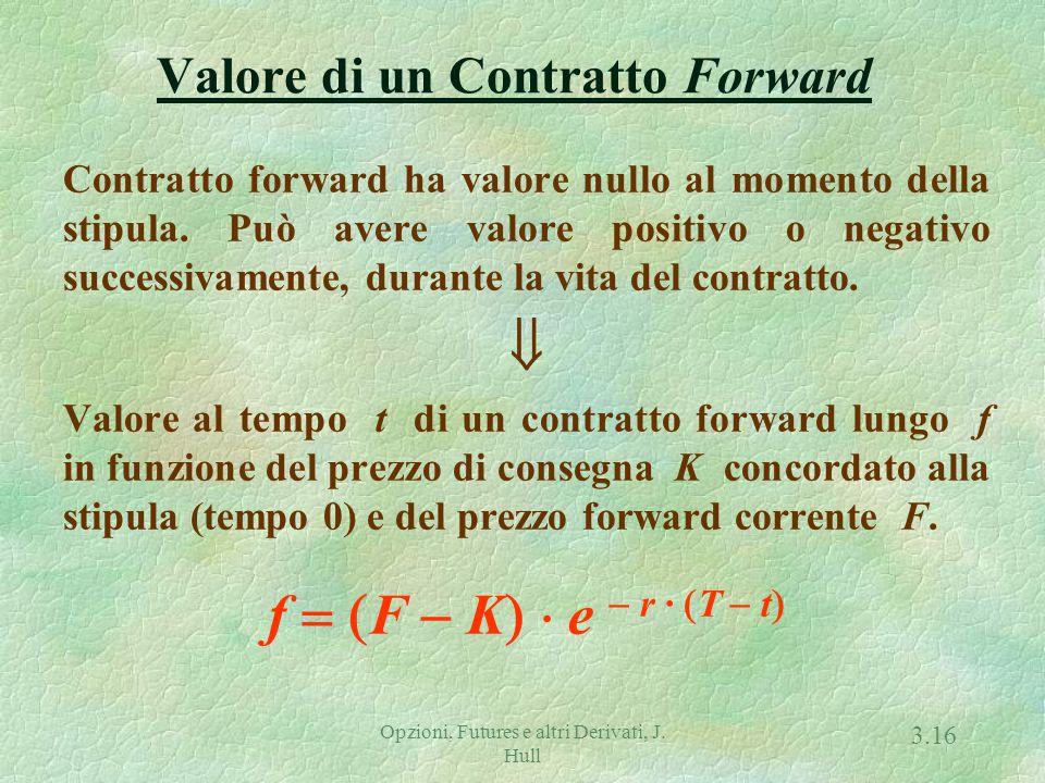 Opzioni, Futures e altri Derivati, J. Hull 3.15 Condizione di non-arbitraggio f + K · exp { - r · (T - t)} = S · exp { - q · (T - t)} Poiché in t, F =