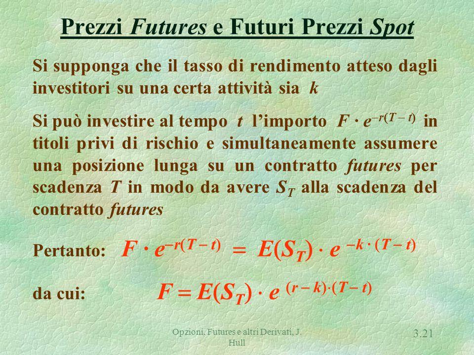 Opzioni, Futures e altri Derivati, J. Hull 3.20 Futures su Merci (Commodity Futures) Vale la relazione F  (S  U  e r ·  T  t  dove U è il val