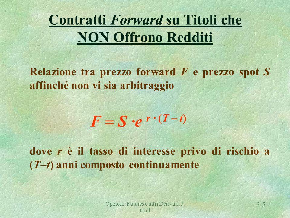 Opzioni, Futures e altri Derivati, J. Hull 3.4 Definizioni F : prezzo forward f : valore del contratto forward K : prezzo di consegna del contratto fo