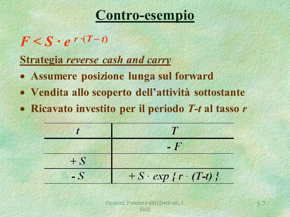 Opzioni, Futures e altri Derivati, J. Hull 3.6 Contro-esempio F > S · e r ·  T  t  Strategia cash and carry  Prendere a prestito S per il periodo