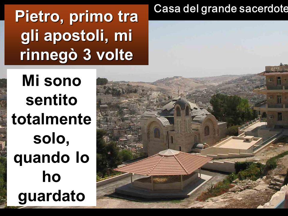 Pietro lo negò e Gesù lo guardò Dopo averlo catturato, lo condussero via e lo fecero entrare nella casa del sommo sacerdote.