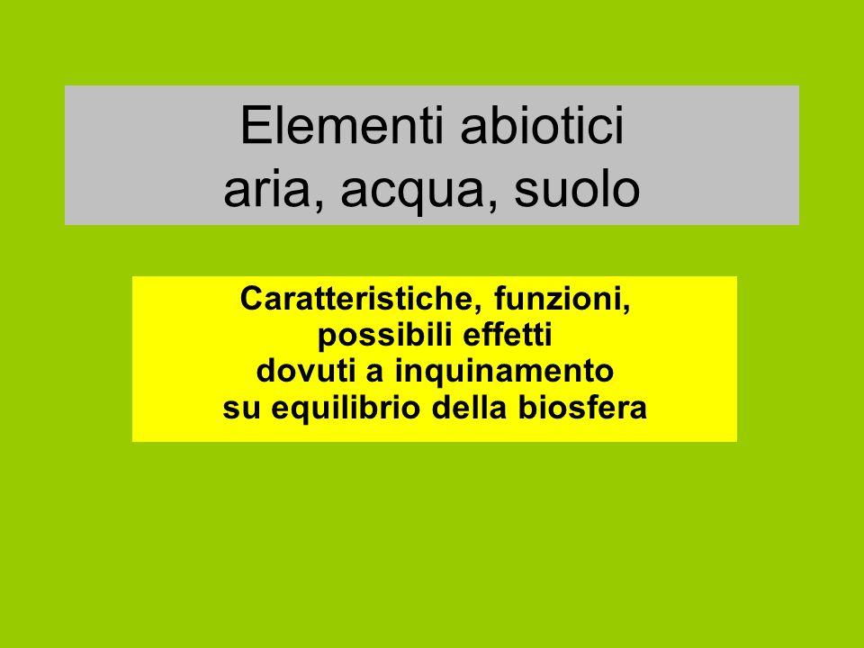 Elementi abiotici aria, acqua, suolo Caratteristiche, funzioni, possibili effetti dovuti a inquinamento su equilibrio della biosfera