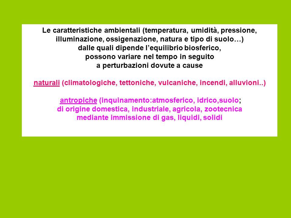 Le caratteristiche ambientali (temperatura, umidità, pressione, illuminazione, ossigenazione, natura e tipo di suolo…) dalle quali dipende l'equilibri