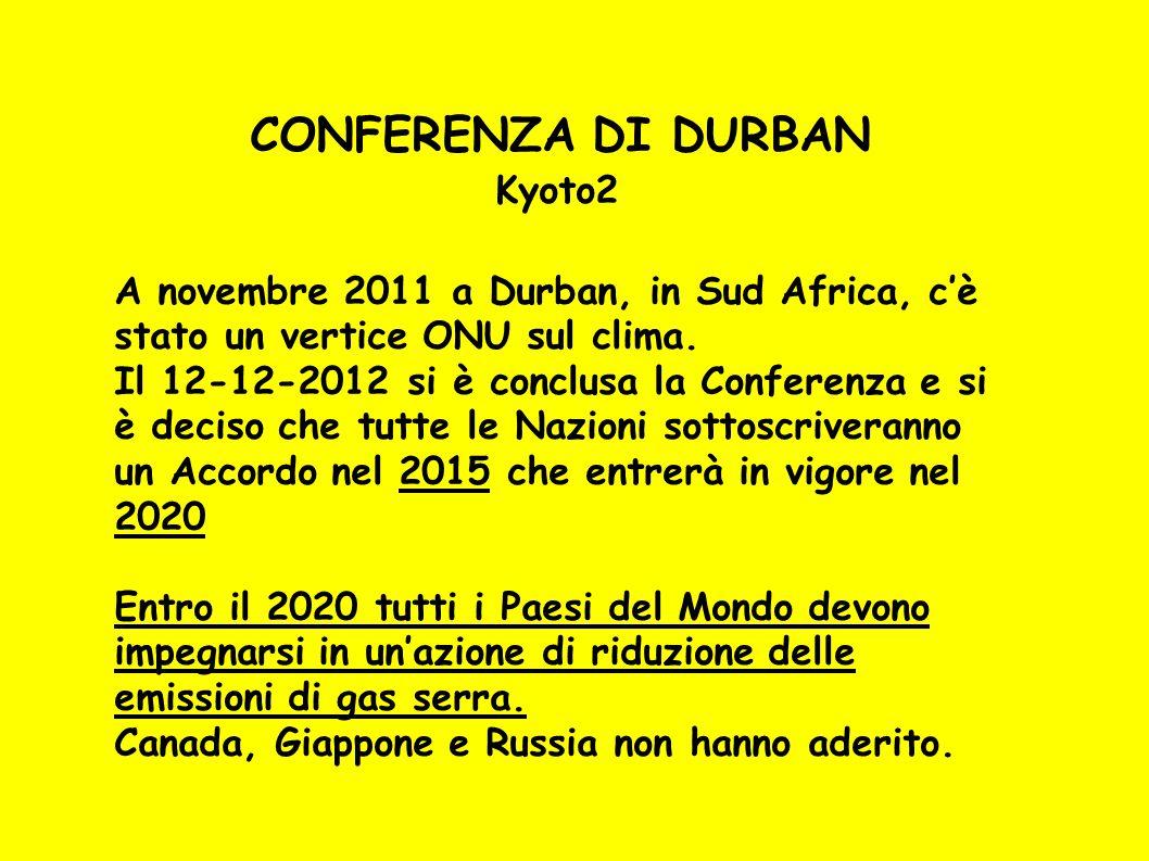 C ONFERENZA DI DURBAN Kyoto2 A novembre 2011 a Durban, in Sud Africa, c'è stato un vertice ONU sul clima. Il 12-12-2012 si è conclusa la Conferenza e