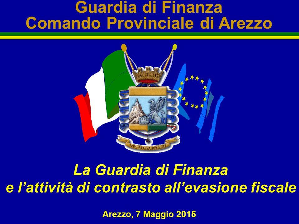 Guardia di Finanza Comando Provinciale di Arezzo La Guardia di Finanza e l'attività di contrasto all'evasione fiscale Arezzo, 7 Maggio 2015