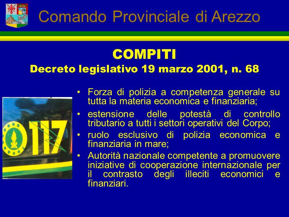 Forza di polizia a competenza generale su tutta la materia economica e finanziaria; estensione delle potestà di controllo tributario a tutti i settori