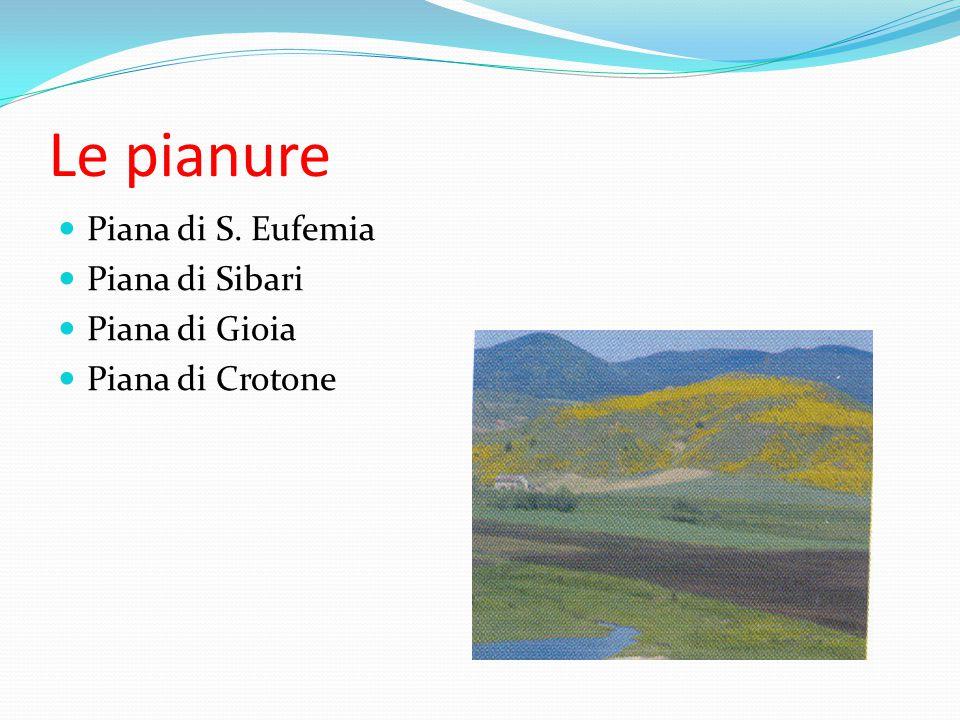 Le pianure Piana di S. Eufemia Piana di Sibari Piana di Gioia Piana di Crotone