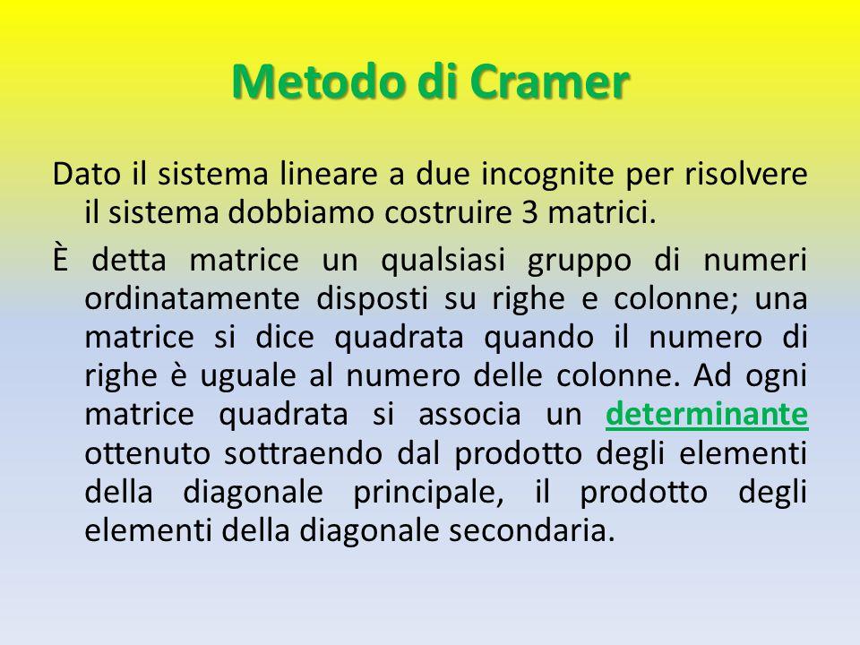 Metodo di Cramer Dato il sistema lineare a due incognite per risolvere il sistema dobbiamo costruire 3 matrici.