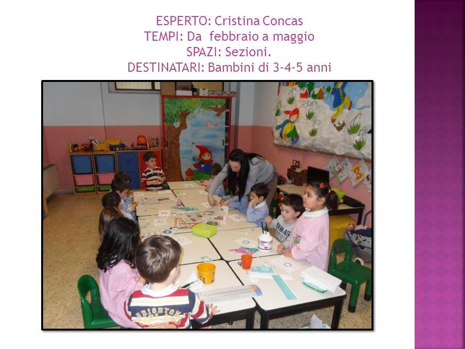ESPERTO: Cristina Concas TEMPI: Da febbraio a maggio SPAZI: Sezioni. DESTINATARI: Bambini di 3-4-5 anni