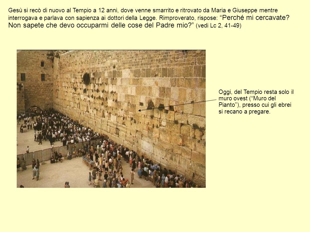 Gesù si recò di nuovo al Tempio a 12 anni, dove venne smarrito e ritrovato da Maria e Giuseppe mentre interrogava e parlava con sapienza ai dottori de