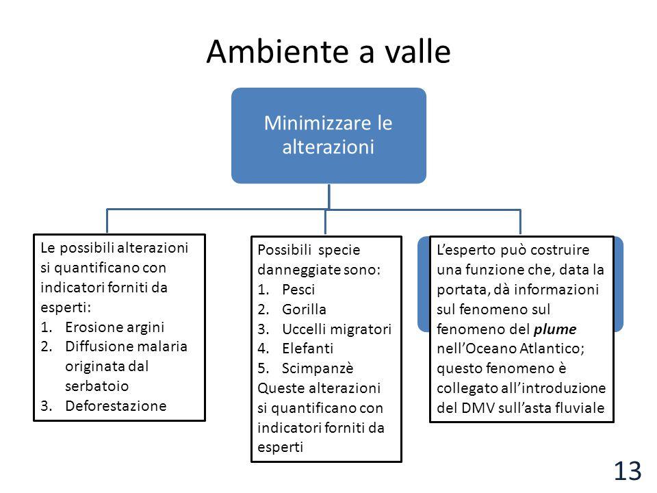 Ambiente a valle Minimizzare le alterazioni Mitigare alterazioni habitat Ridurre danni alla biodiversità Ridurre gli effetti della diminuizione dei se