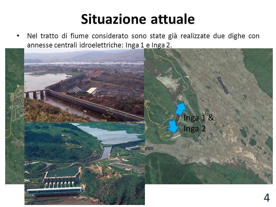 Inga 1 & Inga 2 Situazione attuale Nel tratto di fiume considerato sono state già realizzate due dighe con annesse centrali idroelettriche: Inga 1 e I