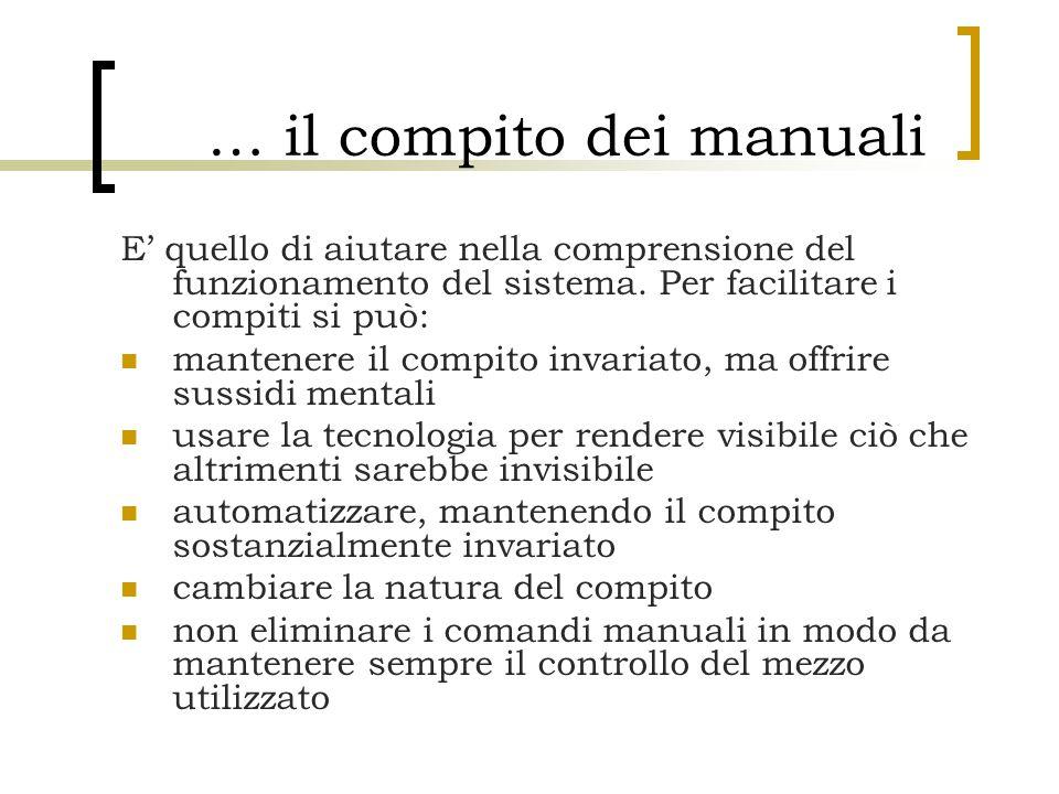 … il compito dei manuali E' quello di aiutare nella comprensione del funzionamento del sistema. Per facilitare i compiti si può: mantenere il compito