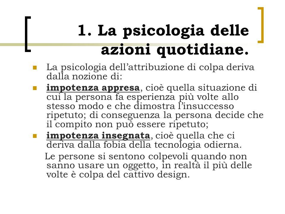 1. La psicologia delle azioni quotidiane. La psicologia dell'attribuzione di colpa deriva dalla nozione di: impotenza appresa, cioè quella situazione