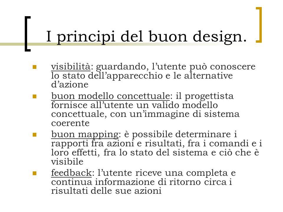 I principi del buon design. visibilità: guardando, l'utente può conoscere lo stato dell'apparecchio e le alternative d'azione buon modello concettuale