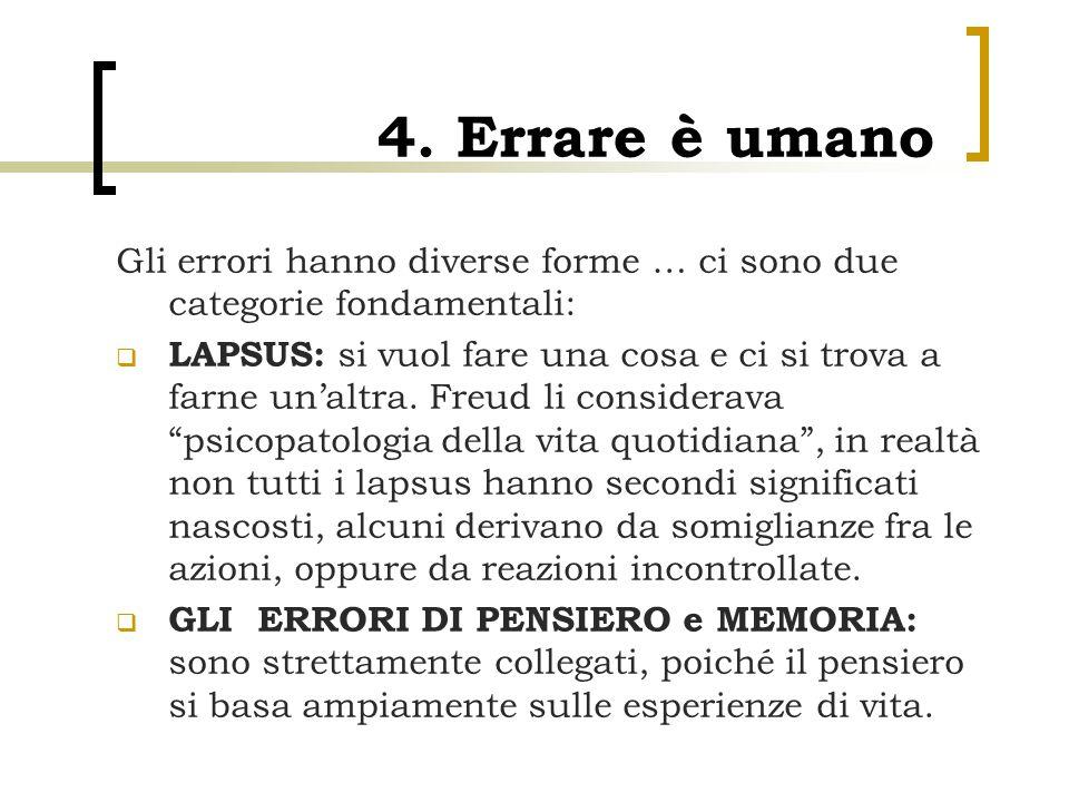 4. Errare è umano Gli errori hanno diverse forme … ci sono due categorie fondamentali:  LAPSUS: si vuol fare una cosa e ci si trova a farne un'altra.